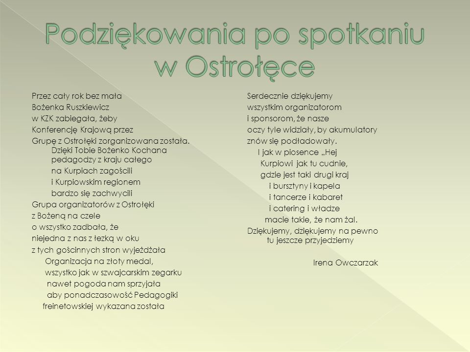 Podziękowania po spotkaniu w Ostrołęce
