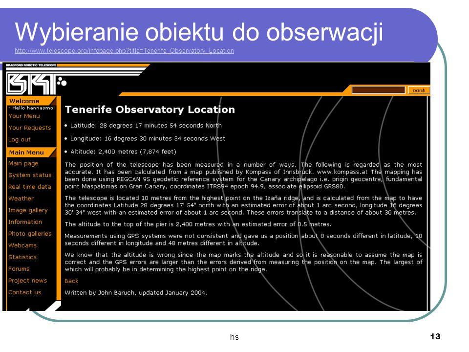 Wybieranie obiektu do obserwacji http://www. telescope. org/infopage