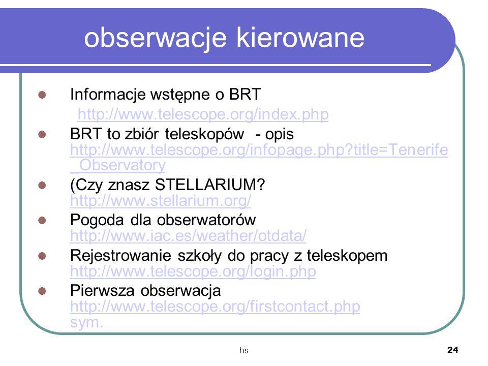 obserwacje kierowane Informacje wstępne o BRT
