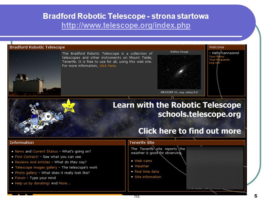 Bradford Robotic Telescope - strona startowa http://www. telescope