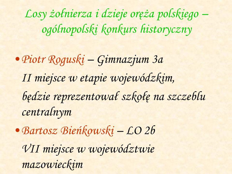 Losy żołnierza i dzieje oręża polskiego – ogólnopolski konkurs historyczny