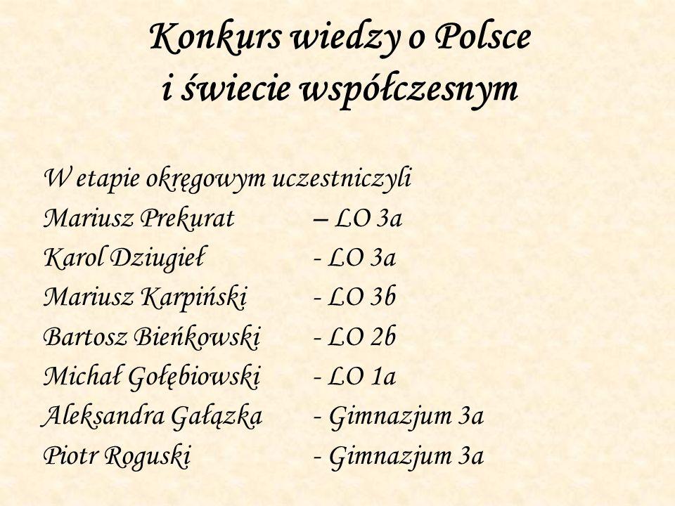Konkurs wiedzy o Polsce i świecie współczesnym