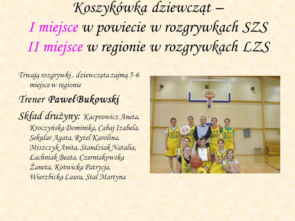Koszykówka dziewcząt – I miejsce w powiecie w rozgrywkach SZS II miejsce w regionie w rozgrywkach LZS