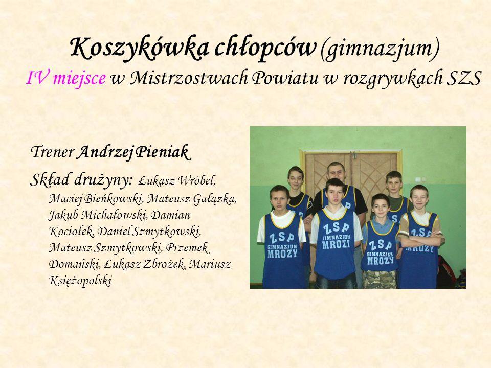 Koszykówka chłopców (gimnazjum) IV miejsce w Mistrzostwach Powiatu w rozgrywkach SZS