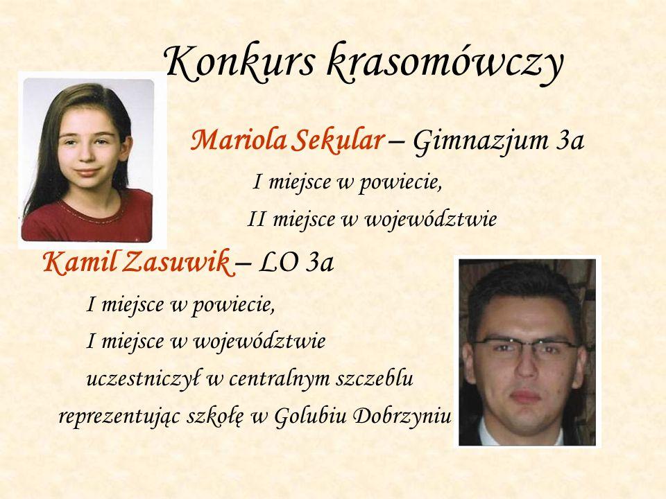 Konkurs krasomówczy Mariola Sekular – Gimnazjum 3a