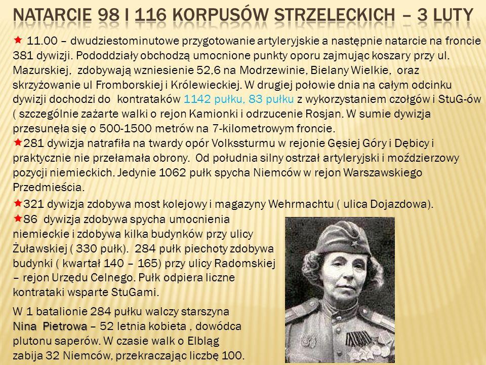 Natarcie 98 i 116 korpusów strzeleckich – 3 luty