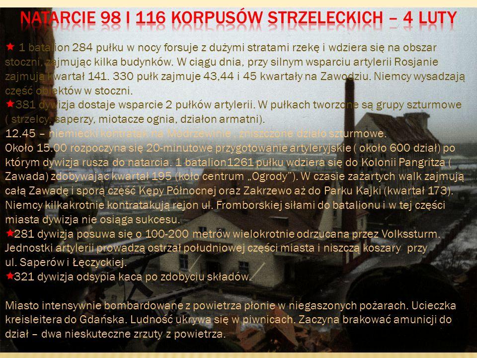 Natarcie 98 i 116 korpusów strzeleckich – 4 luty