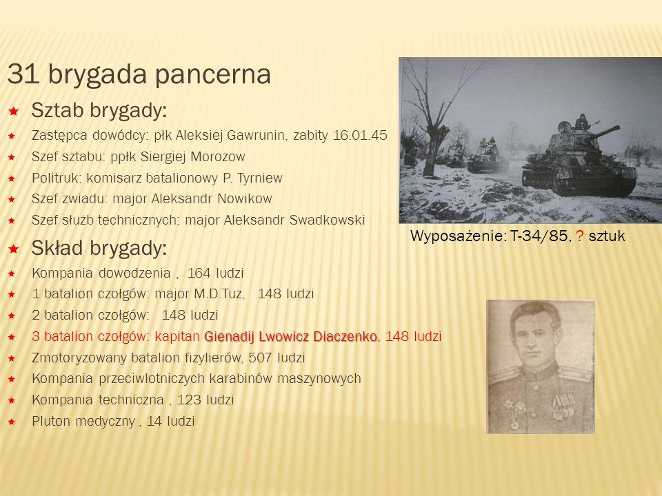 31 brygada pancerna Sztab brygady: Skład brygady:
