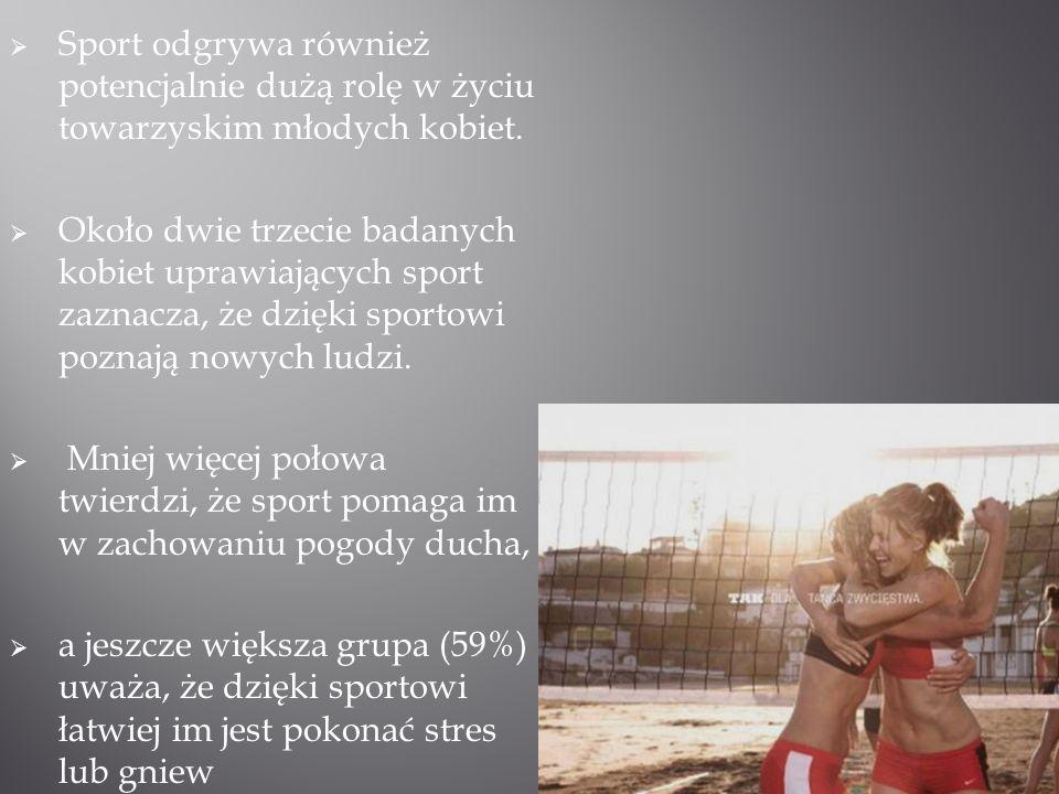 Sport odgrywa również potencjalnie dużą rolę w życiu towarzyskim młodych kobiet.