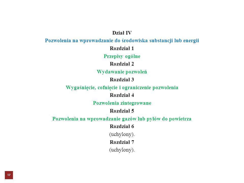 Dział IV Pozwolenia na wprowadzanie do środowiska substancji lub energii Rozdział 1 Przepisy ogólne Rozdział 2 Wydawanie pozwoleń Rozdział 3 Wygaśnięcie, cofnięcie i ograniczenie pozwolenia Rozdział 4 Pozwolenia zintegrowane Rozdział 5 Pozwolenia na wprowadzanie gazów lub pyłów do powietrza Rozdział 6 (uchylony).