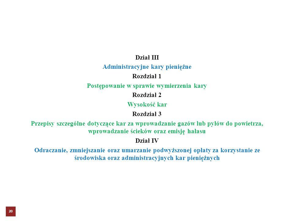 Dział III Administracyjne kary pieniężne Rozdział 1 Postępowanie w sprawie wymierzenia kary Rozdział 2 Wysokość kar Rozdział 3 Przepisy szczególne dotyczące kar za wprowadzanie gazów lub pyłów do powietrza, wprowadzanie ścieków oraz emisję hałasu Dział IV Odraczanie, zmniejszanie oraz umarzanie podwyższonej opłaty za korzystanie ze środowiska oraz administracyjnych kar pieniężnych