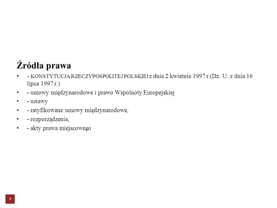 Źródła prawa - KONSTYTUCJA RZECZYPOSPOLITEJ POLSKIEJ z dnia 2 kwietnia 1997 r.(Dz. U. z dnia 16 lipca 1997 r.)