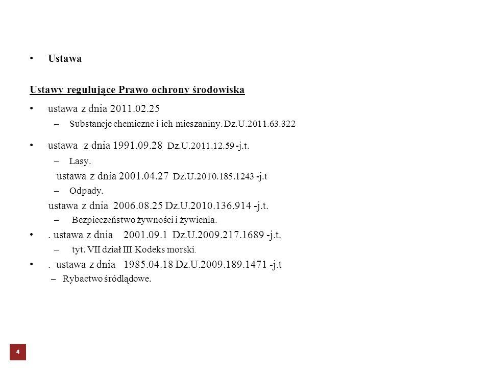 Ustawy regulujące Prawo ochrony środowiska ustawa z dnia 2011.02.25