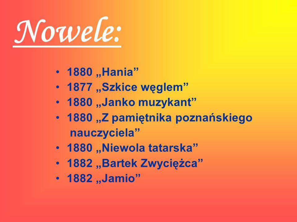 """Nowele: 1880 """"Hania 1877 """"Szkice węglem 1880 """"Janko muzykant"""