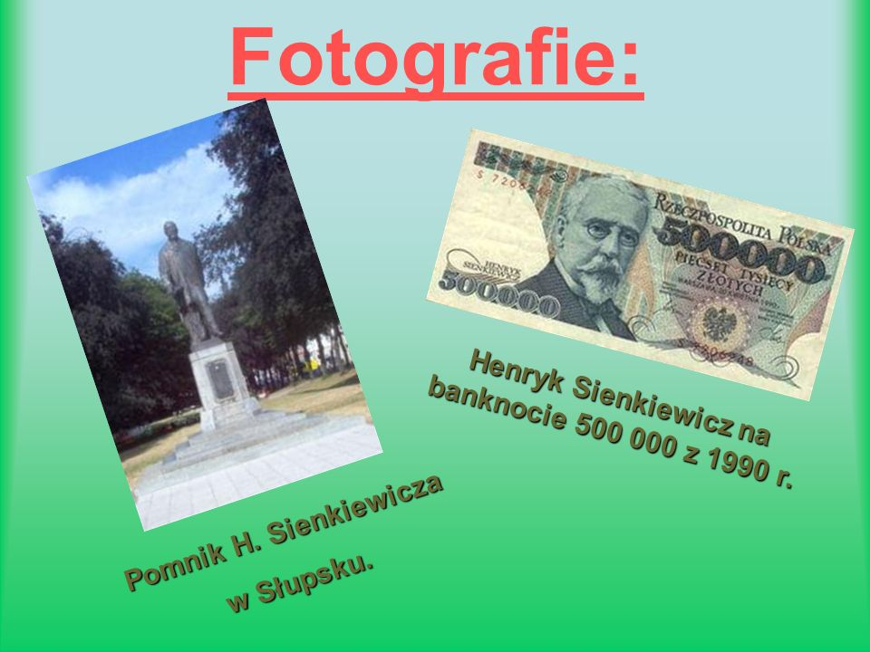 Henryk Sienkiewicz na banknocie 500 000 z 1990 r.