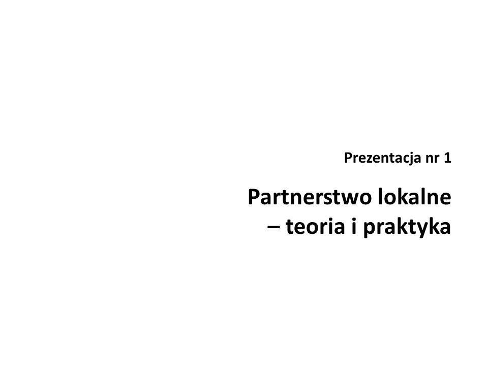 Prezentacja nr 1 Partnerstwo lokalne – teoria i praktyka