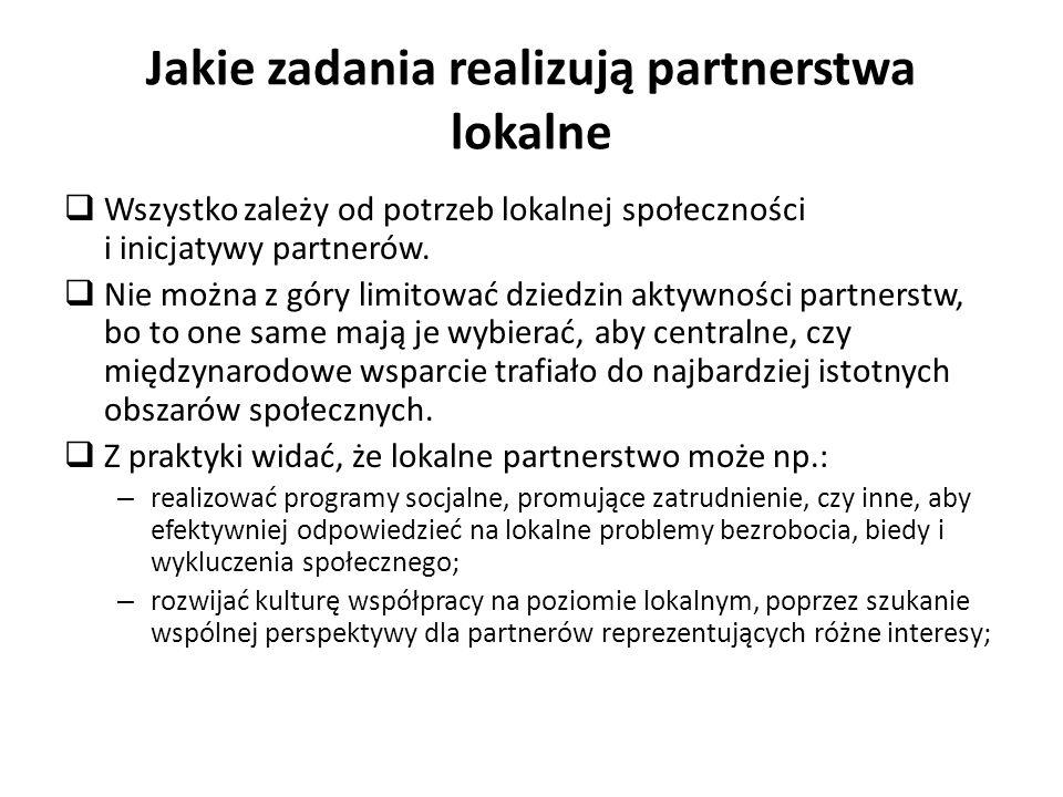 Jakie zadania realizują partnerstwa lokalne