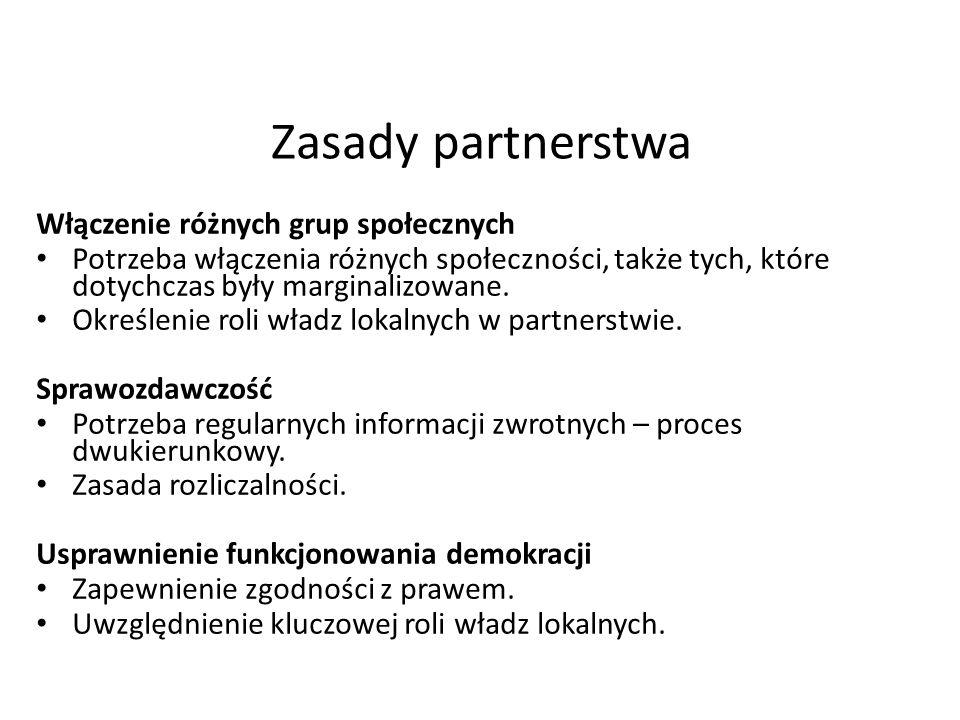 Zasady partnerstwa Włączenie różnych grup społecznych