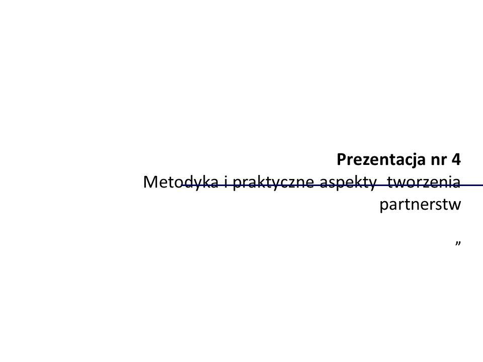 """Prezentacja nr 4 Metodyka i praktyczne aspekty tworzenia partnerstw """""""