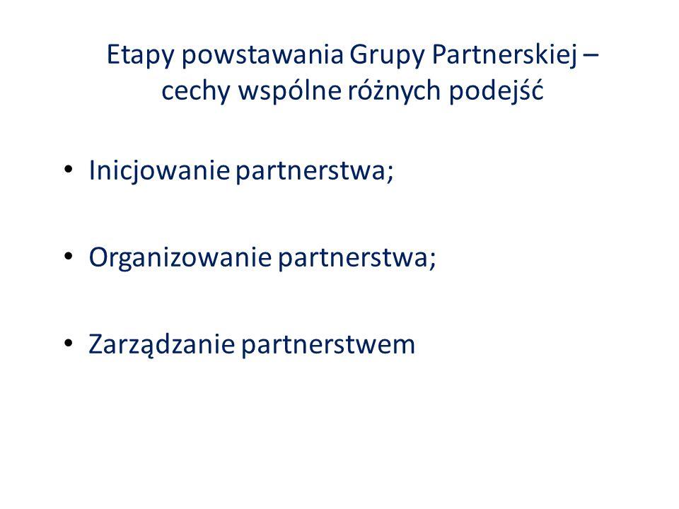 Etapy powstawania Grupy Partnerskiej – cechy wspólne różnych podejść