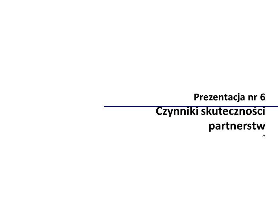 Prezentacja nr 6 Czynniki skuteczności partnerstw