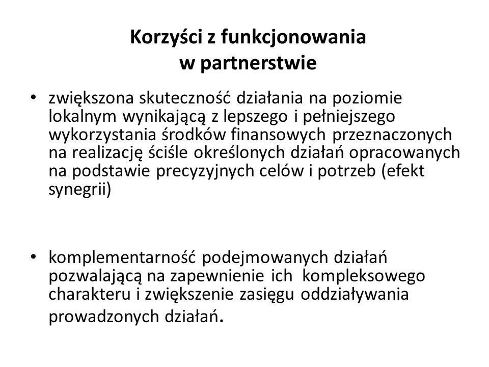 Korzyści z funkcjonowania w partnerstwie