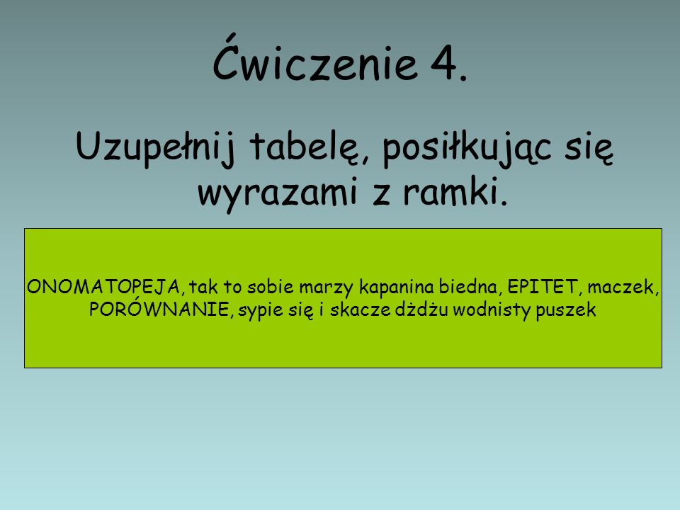 Ćwiczenie 4. Uzupełnij tabelę, posiłkując się wyrazami z ramki.