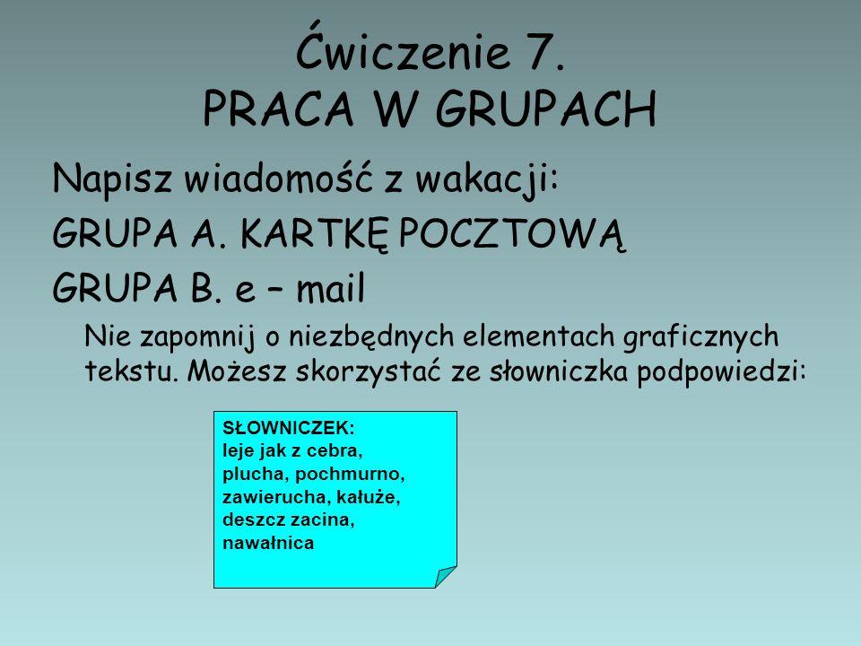 Ćwiczenie 7. PRACA W GRUPACH