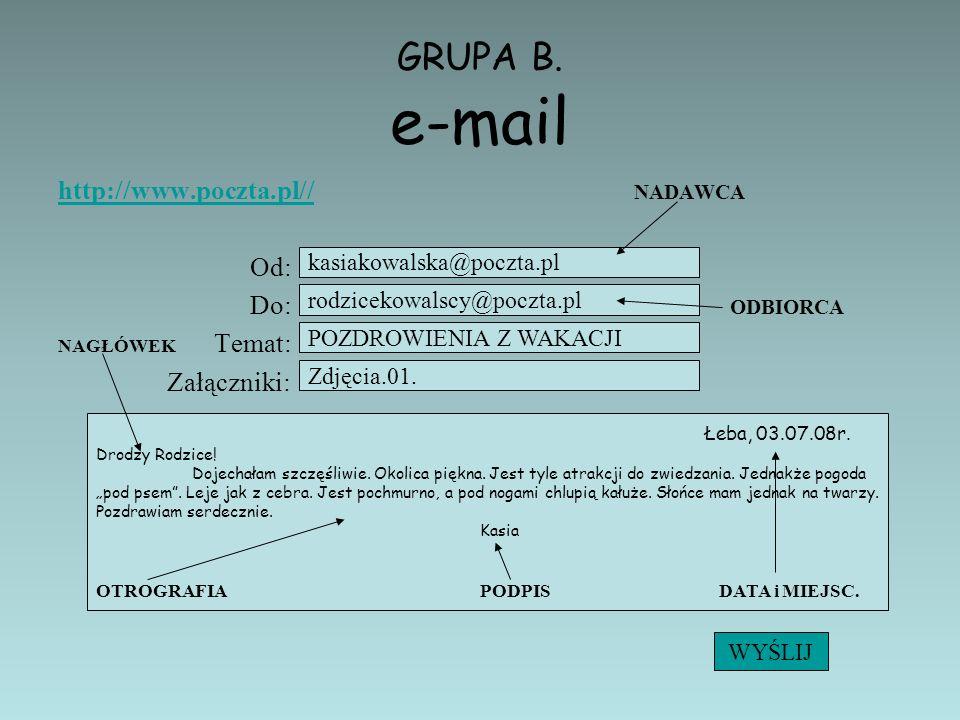 GRUPA B. e-mail http://www.poczta.pl// NADAWCA Od: Do: ODBIORCA
