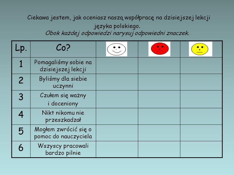 Ciekawa jestem, jak oceniasz naszą współpracę na dzisiejszej lekcji języka polskiego. Obok każdej odpowiedzi narysuj odpowiedni znaczek.