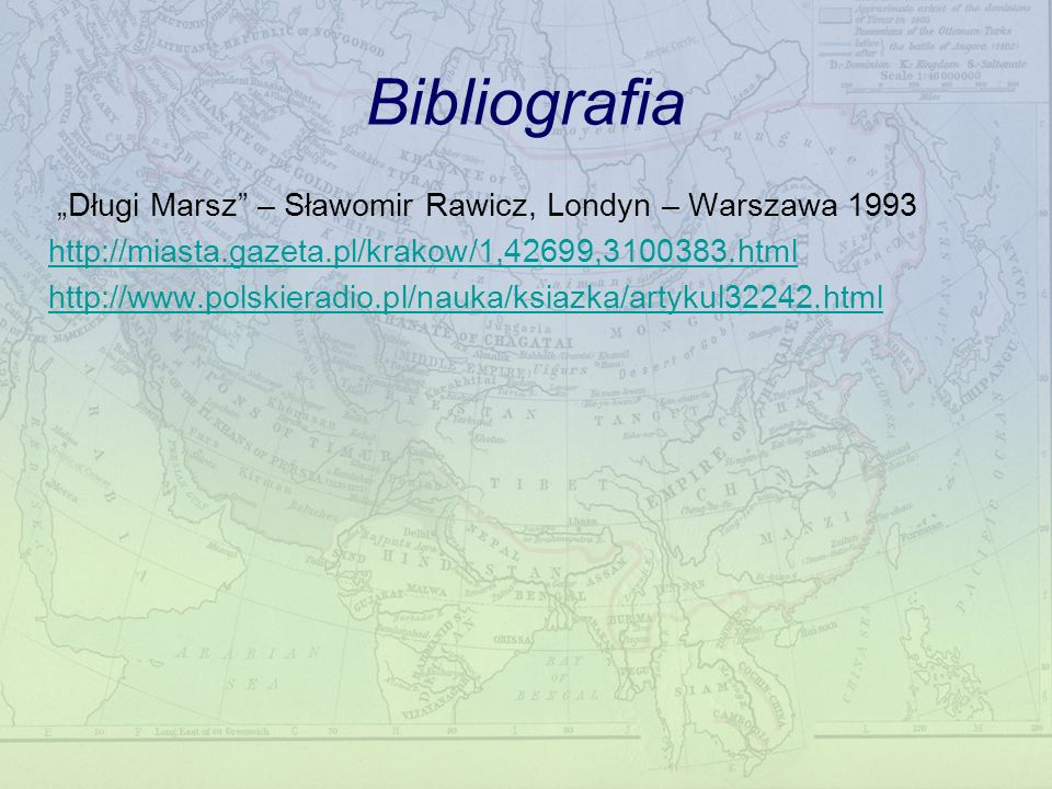 """Bibliografia """"Długi Marsz – Sławomir Rawicz, Londyn – Warszawa 1993"""