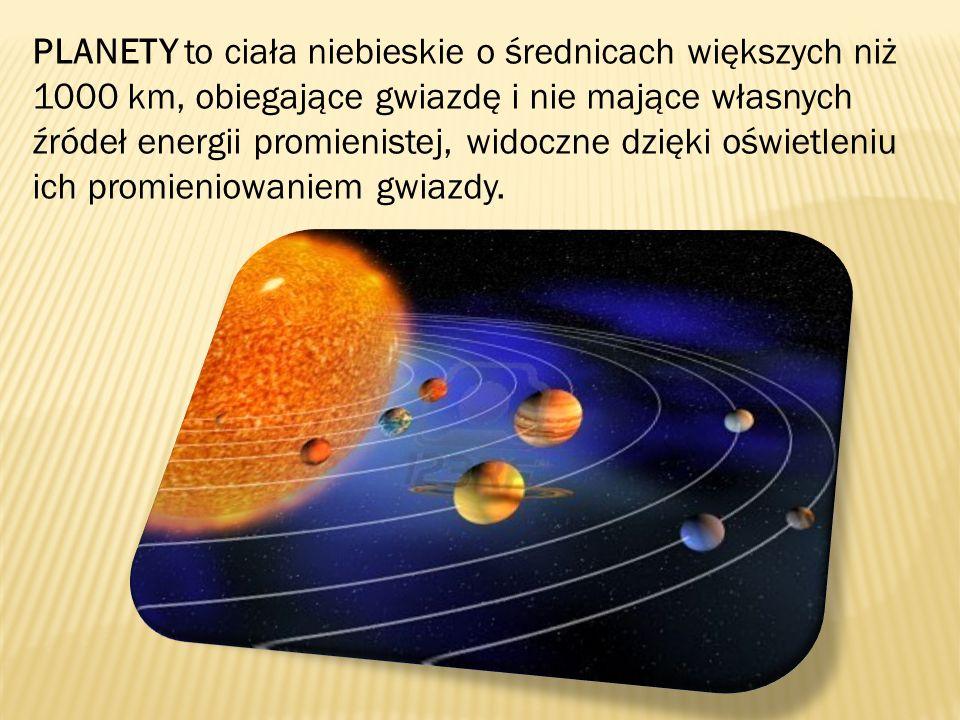 PLANETY to ciała niebieskie o średnicach większych niż 1000 km, obiegające gwiazdę i nie mające własnych źródeł energii promienistej, widoczne dzięki oświetleniu ich promieniowaniem gwiazdy.