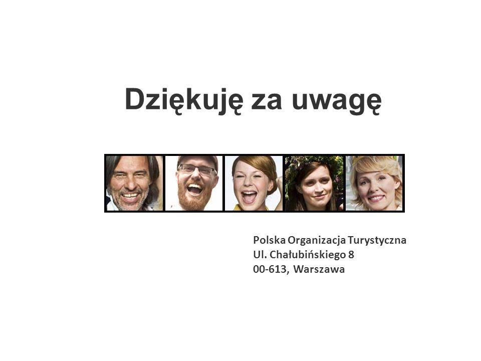 Dziękuję za uwagę Polska Organizacja Turystyczna Ul. Chałubińskiego 8
