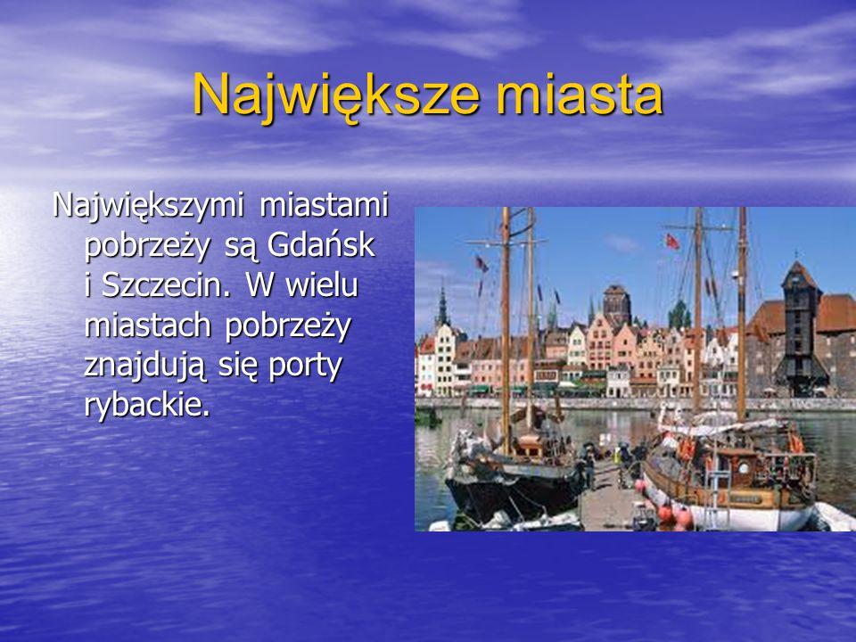 Największe miasta Największymi miastami pobrzeży są Gdańsk i Szczecin.