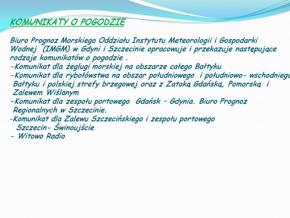 KOMUNIKATY O POGODZIE Biuro Prognoz Morskiego Oddziału Instytutu Meteorologii i Gospodarki.