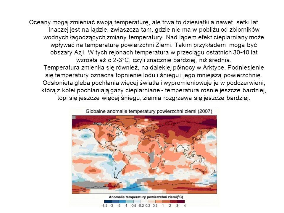 Oceany mogą zmieniać swoją temperaturę, ale trwa to dziesiątki a nawet setki lat. Inaczej jest na lądzie, zwłaszcza tam, gdzie nie ma w pobliżu od zbiorników wodnych łagodzących zmiany temperatury. Nad lądem efekt cieplarniany może wpływać na temperaturę powierzchni Ziemi. Takim przykładem mogą być obszary Azji. W tych rejonach temperatura w przeciągu ostatnich 30-40 lat wzrosła aż o 2-3°C, czyli znacznie bardziej, niż średnia.