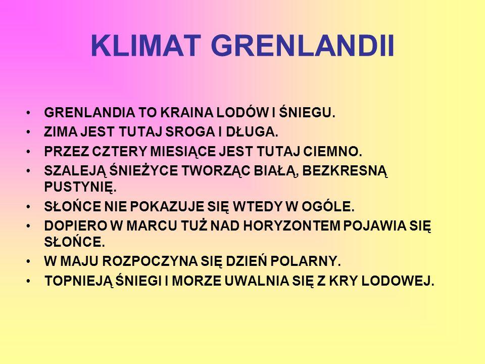 KLIMAT GRENLANDII GRENLANDIA TO KRAINA LODÓW I ŚNIEGU.