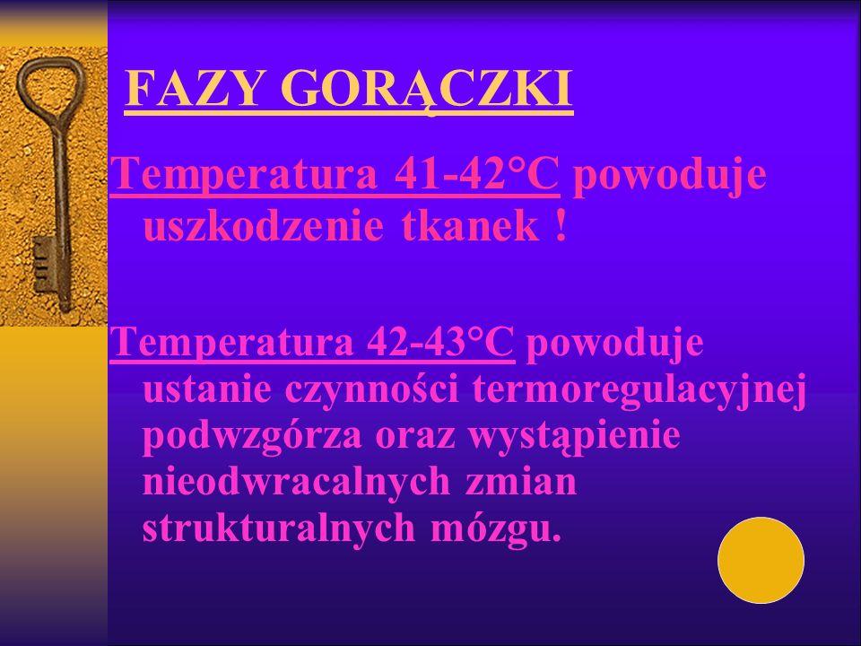 FAZY GORĄCZKI Temperatura 41-42°C powoduje uszkodzenie tkanek !