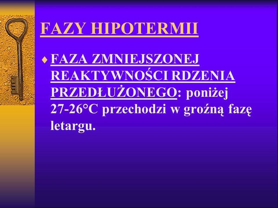 FAZY HIPOTERMII FAZA ZMNIEJSZONEJ REAKTYWNOŚCI RDZENIA PRZEDŁUŻONEGO: poniżej 27-26°C przechodzi w groźną fazę letargu.