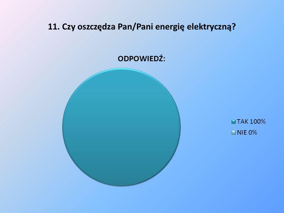 11. Czy oszczędza Pan/Pani energię elektryczną