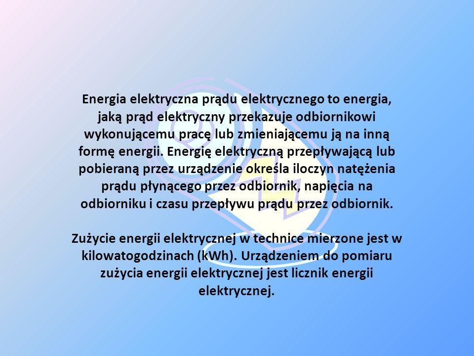 Energia elektryczna prądu elektrycznego to energia, jaką prąd elektryczny przekazuje odbiornikowi wykonującemu pracę lub zmieniającemu ją na inną formę energii. Energię elektryczną przepływającą lub pobieraną przez urządzenie określa iloczyn natężenia prądu płynącego przez odbiornik, napięcia na odbiorniku i czasu przepływu prądu przez odbiornik.