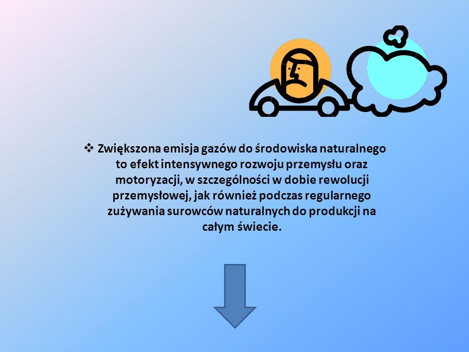 Zwiększona emisja gazów do środowiska naturalnego to efekt intensywnego rozwoju przemysłu oraz motoryzacji, w szczególności w dobie rewolucji przemysłowej, jak również podczas regularnego zużywania surowców naturalnych do produkcji na całym świecie.