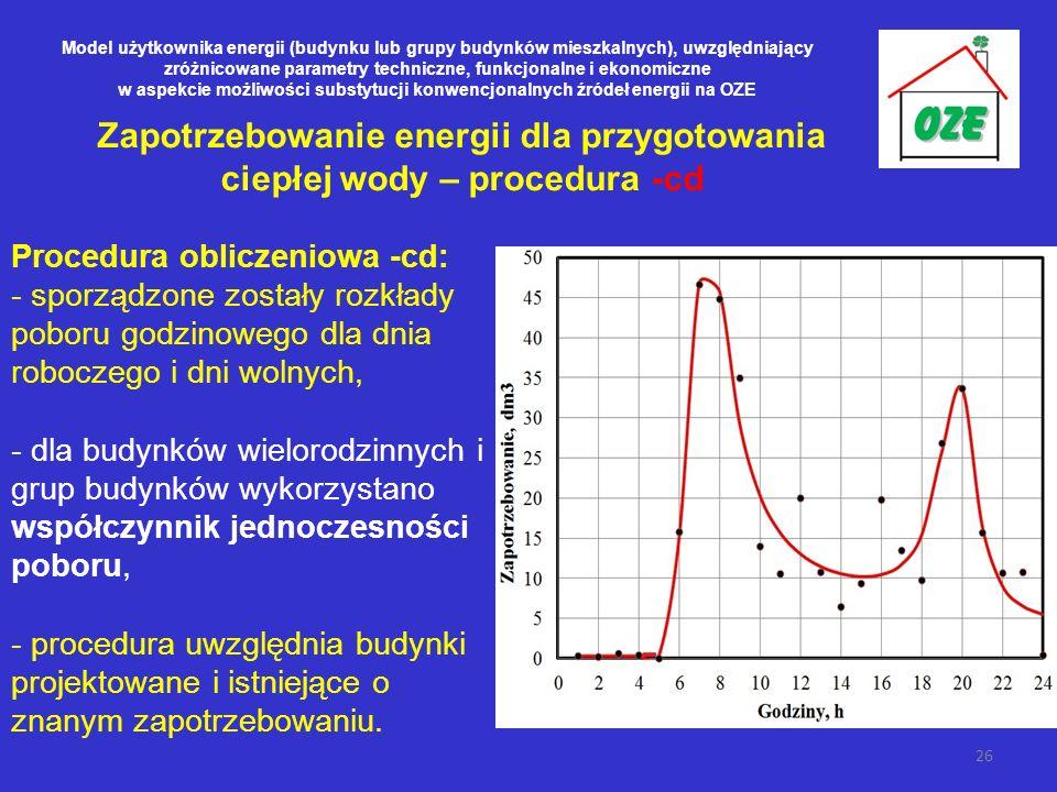 Zapotrzebowanie energii dla przygotowania ciepłej wody – procedura -cd