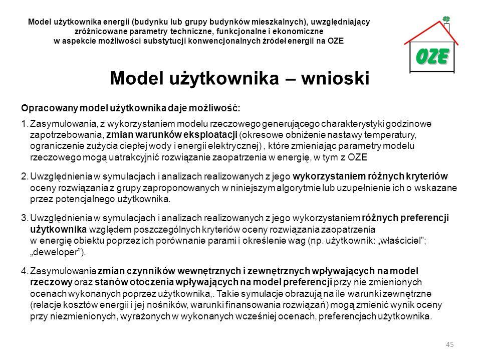 Model użytkownika – wnioski