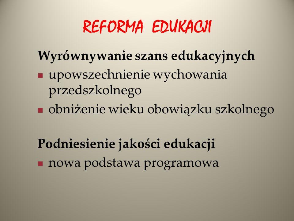 REFORMA EDUKACJI Wyrównywanie szans edukacyjnych