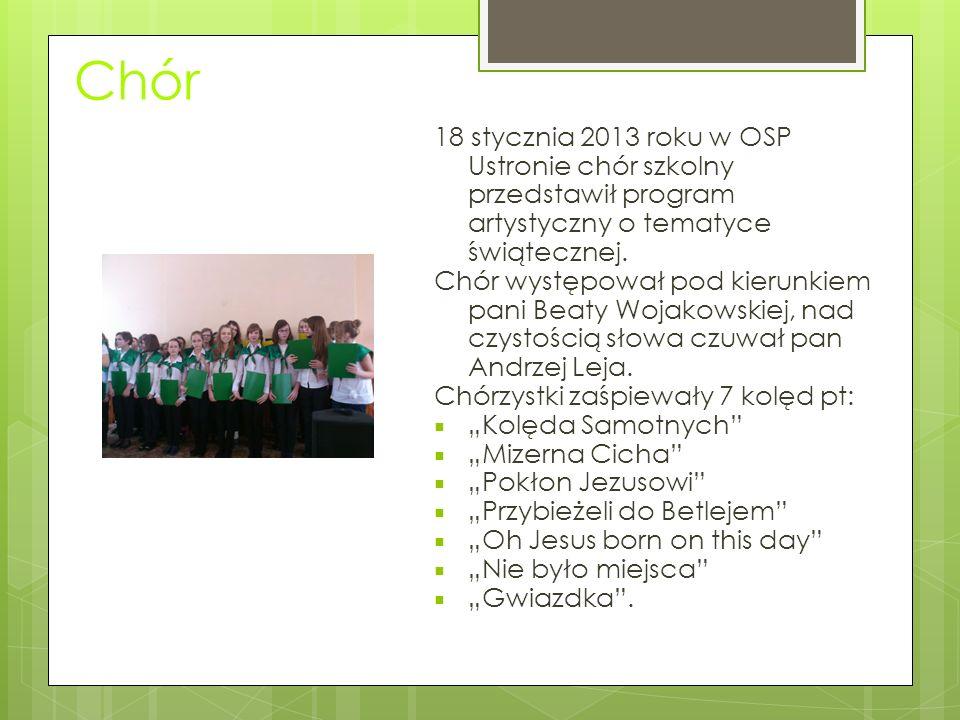 Chór 18 stycznia 2013 roku w OSP Ustronie chór szkolny przedstawił program artystyczny o tematyce świątecznej.
