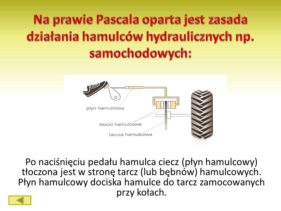 Na prawie Pascala oparta jest zasada działania hamulców hydraulicznych np. samochodowych: