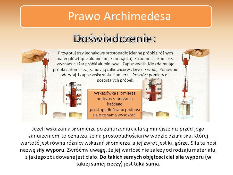 Prawo Archimedesa Doświadczenie: