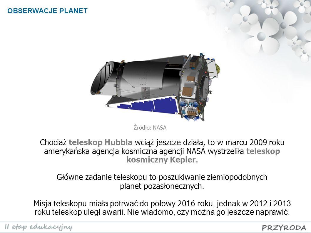 OBSERWACJE PLANET Źródło: NASA.