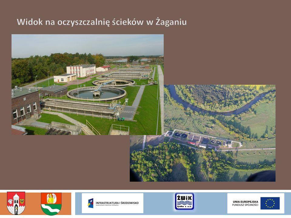 Widok na oczyszczalnię ścieków w Żaganiu